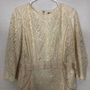 Taylor Cream Lace Dress - Size 10